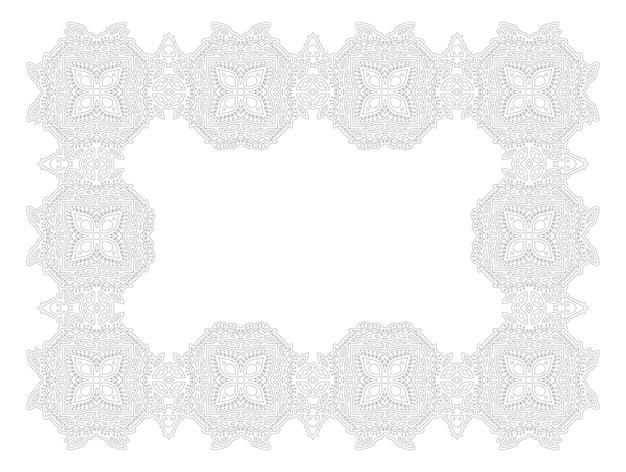 Piękna monochromatyczna ilustracja wektorowa dla dorosłych kolorowanki książki z streszczenie wschodnia ramka na białym tle na białym tle