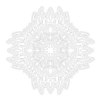Piękna monochromatyczna ilustracja wektorowa do kolorowania strony książki z abstrakcyjnym wzorem liniowym na białym tle na białym tle