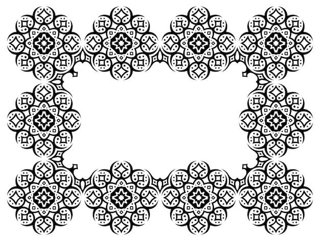 Piękna monochromatyczna ilustracja wektorowa kosmiczna z abstrakcyjną czarną gwiaździstą ramą plemienną na białym tle na białym tle