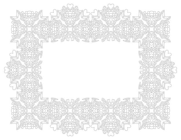 Piękna monochromatyczna ilustracja wektorowa na walentynki kolorowanka z prostokątną ramą liniową na białym tle na białym tle