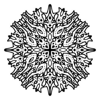 Piękna monochromatyczna ilustracja wektorowa tribal tatuaż z abstrakcyjnym czarnym wzorem na białym tle