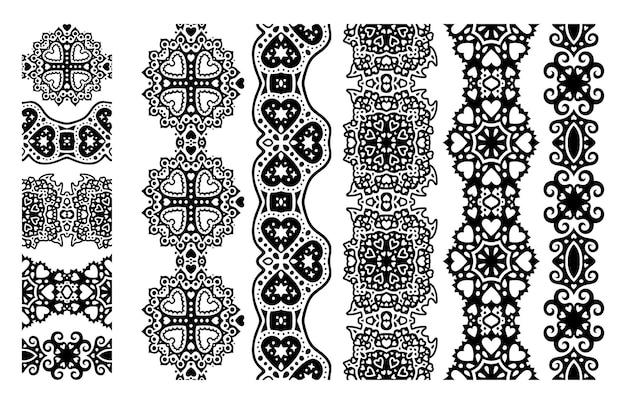 Piękna monochromatyczna ilustracja wektorowa walentynki z abstrakcyjnymi czarnymi plemiennymi bezszwowymi pędzlami ustawionymi na białym tle na białym tle