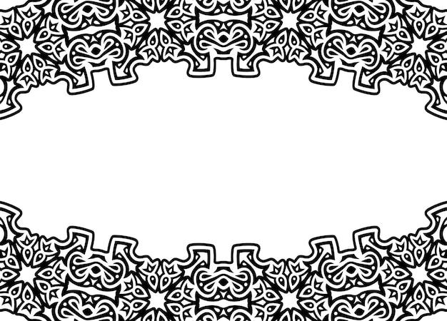 Piękna monochromatyczna ilustracja wektorowa z abstrakcyjną czarną obwódką plemienną i białą przestrzenią kopii