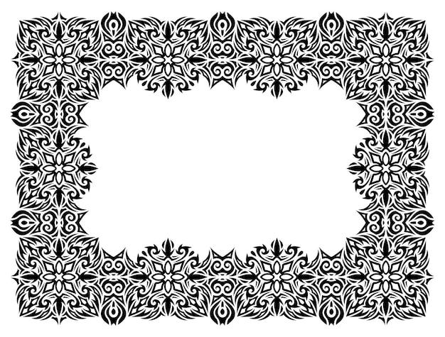 Piękna monochromatyczna ilustracja wektorowa z abstrakcyjną czarną ramką na białym tle na białym tle