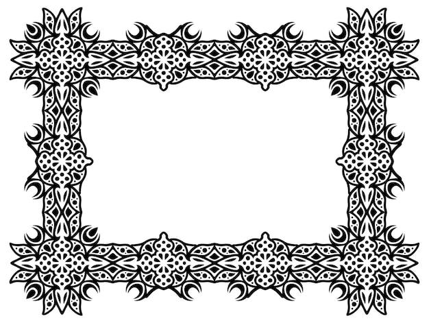 Piękna monochromatyczna ilustracja wektorowa z abstrakcyjną ramą prostokąta na białym tle