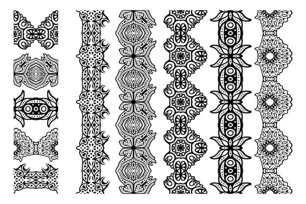 Piękna monochromatyczna ilustracja wektorowa z abstrakcyjnym czarnym bezszwowym zestawem pędzli na białym tle na białym tle