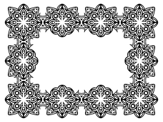 Piękna monochromatyczna ilustracja wektorowa z abstrakcyjnym czarnym prostokątem plemiennym na białym tle na białym tle