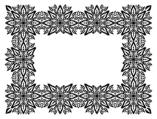 Piękna monochromatyczna ilustracja wektorowa z abstrakcyjnym plemiennym kwiatowym prostokątem na białym tle na białym tle