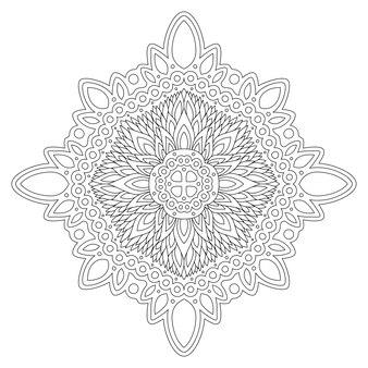 Piękna monochromatyczna ilustracja wektorowa z abstrakcyjnym wzorem liniowym na białym tle