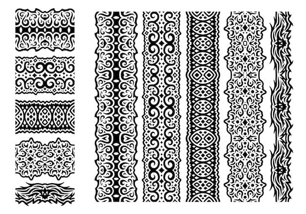 Piękna monochromatyczna ilustracja wektorowa z abstrakcyjnymi czarnymi plemiennymi bezszwowymi pędzlami na białym tle na białym tle