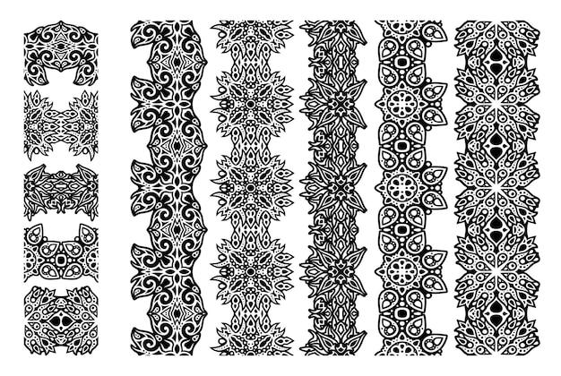 Piękna monochromatyczna ilustracja wektorowa z abstrakcyjnymi czarnymi plemiennymi bezszwowymi pędzlami ustawionymi na białym tle na białym tle