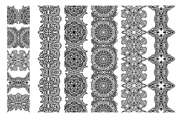 Piękna monochromatyczna ilustracja wektorowa z abstrakcyjnymi plemiennymi bezszwowymi pędzlami ustawionymi na białym tle na białym tle