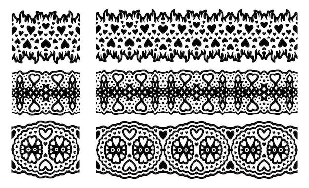 Piękna monochromatyczna ilustracja wektorowa z streszczenie walentynki zestaw pędzli na białym tle na białym tle