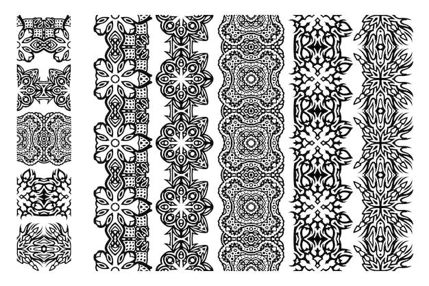 Piękna monochromatyczna ilustracja wektorowa z zestawem abstrakcyjnych czarnych pędzli plemiennych