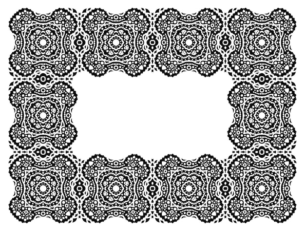 Piękna monochromatyczna ilustracja wektorowa ze szczegółową abstrakcyjną czarną ramą plemienną na białym tle na białym tle