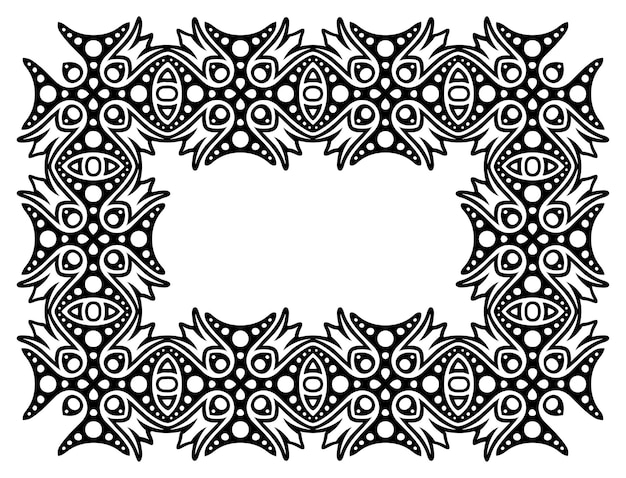 Piękna monochromatyczna ilustracja z abstrakcyjną czarną ramką na białym tle