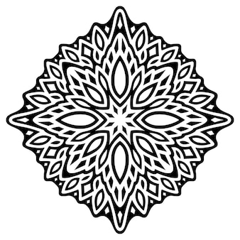Piękna monochromatyczna ilustracja z abstrakcyjnym czarnym pojedynczym wzorem na białym tle