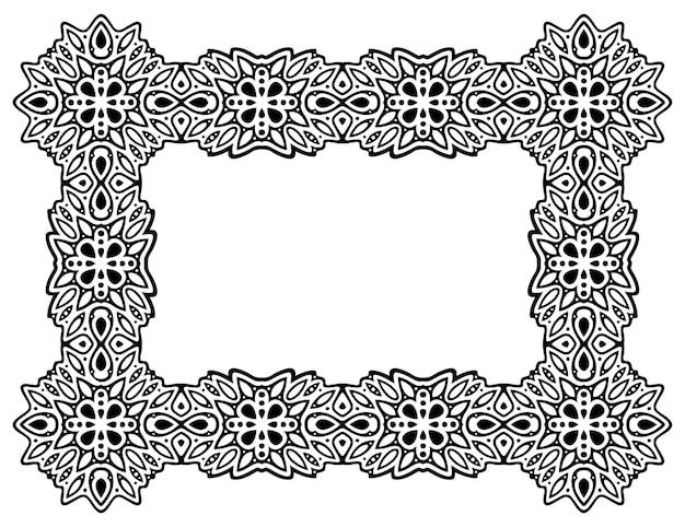 Piękna monochromatyczna ilustracja z odizolowaną abstrakcyjną ramą prostokąta
