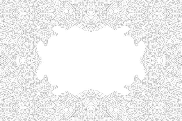 Piękna monochromatyczna liniowa ilustracja wektorowa dla dorosłych kolorowanka z ozdobnym obramowaniem abstrakcyjnego prostokąta i białą kopią miejsca