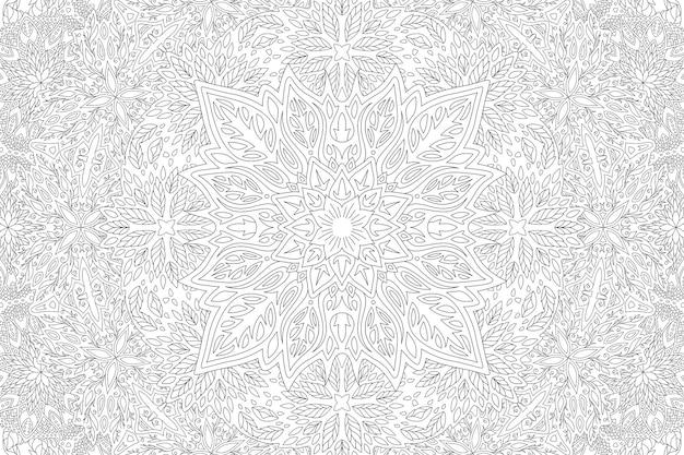 Piękna monochromatyczna liniowa wektorowa ilustracja dla dorosłych kolorowanka z abstrakcyjnym prostokątem kwiatowym wzorem na białym tle