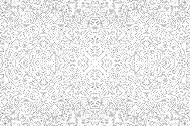 Piękna monochromatyczna liniowa wektorowa ilustracja dla dorosłych kolorowanka z abstrakcyjnym wzorem szczegółowym na białym tle