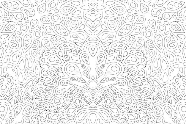 Piękna monochromatyczna liniowa wektorowa ilustracja dla dorosłych kolorowanka z abstrakcyjnym wzorem wschodnim na białym tle