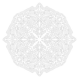 Piękna monochromatyczna liniowa wektorowa ilustracja dla dorosłych kolorowanki książki z abstrakcyjnym okrągłym pojedynczym wzorem na białym tle na białym tle