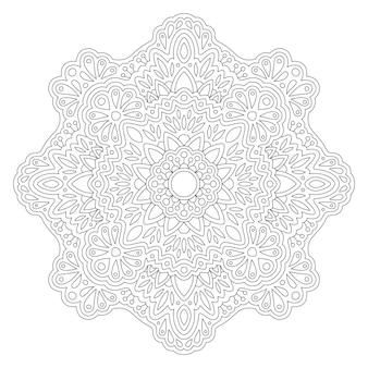 Piękna monochromatyczna liniowa wektorowa ilustracja dla dorosłych kolorowanki książki z abstrakcyjnym orientalnym wzorem na białym tle na białym tle