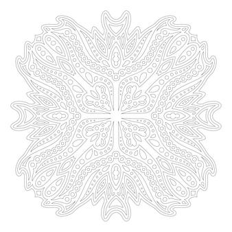 Piękna monochromatyczna liniowa wektorowa ilustracja dla dorosłych kolorowanki książki z abstrakcyjnym pojedynczym wzorem na białym tle na białym tle