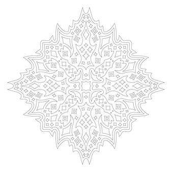 Piękna monochromatyczna liniowa wektorowa ilustracja dla dorosłych kolorowanki książki z abstrakcyjnym wzorem gwiaździstym na białym tle na białym tle