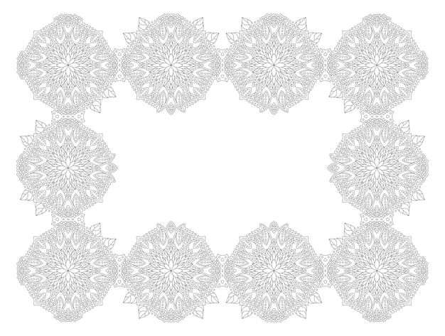Piękna monochromatyczna liniowa wektorowa ilustracja dla dorosłych kolorowanki książki z streszczenie kwiatowy ramki na białym tle na białym tle