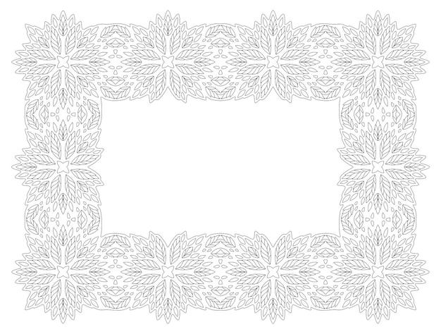 Piękna monochromatyczna liniowa wektorowa ilustracja dla dorosłych kolorowanki książki z streszczenie szczegółowa ramka kwiatowy na białym tle na białym tle