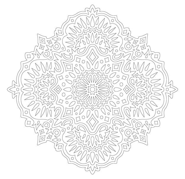 Piękna monochromatyczna liniowa wektorowa ilustracja do kolorowania książki z abstrakcyjnym orientalnym wzorem na białym tle na białym tle