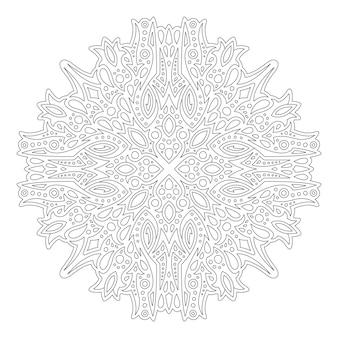 Piękna monochromatyczna liniowa wektorowa ilustracja do kolorowania strony książki z abstrakcyjnym pojedynczym wzorem na białym tle na białym tle
