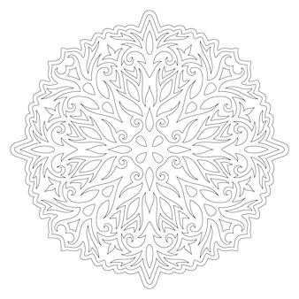 Piękna monochromatyczna liniowa wektorowa ilustracja do kolorowania strony książki z abstrakcyjnym wzorem vintage na białym tle na białym tle
