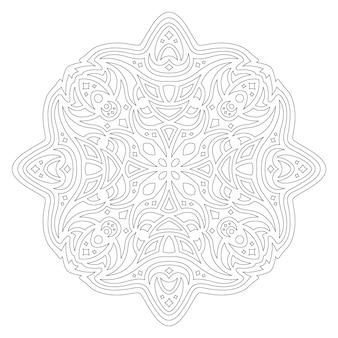 Piękna monochromatyczna liniowa wektorowa ilustracja do kolorowania strony książki z streszczenie mandali na białym tle na białym tle