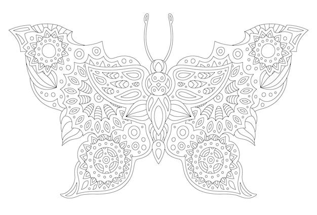 Piękna monochromatyczna liniowa wektorowa ilustracja do kolorowania strony książki ze stylizowaną sylwetką motyla na białym tle na białym tle