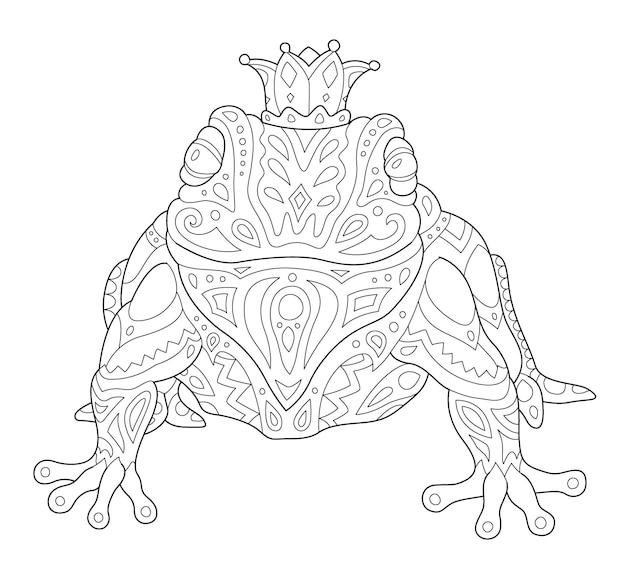 Piękna monochromatyczna liniowa wektorowa ilustracja do kolorowania strony książki ze stylizowaną żabą koronowaną na białym tle na białym tle