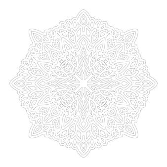 Piękna monochromatyczna mandala do kolorowania książki z liniowym abstrakcyjnym wzorem na białym tle