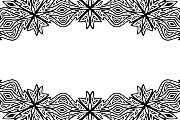 Piękna monochromatyczna plemienna ilustracja wektorowa z czarnym wzorem vintage i białą przestrzenią kopii