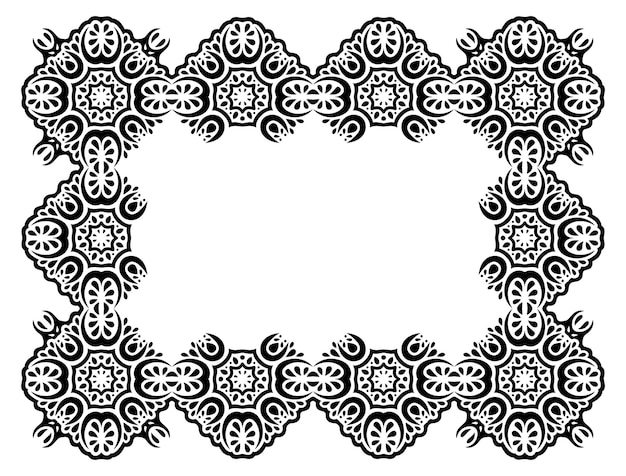 Piękna monochromatyczna sztuka plemienna z abstrakcyjną czarną wschodnią ramą i białą przestrzenią kopii