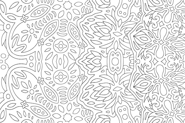 Piękna monochromatyczna wektorowa ilustracja liniowa dla dorosłych kolorowanka z abstrakcyjnym wzorem fantasy