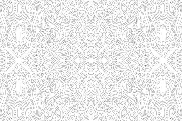Piękna monochromatyczna wektorowa ilustracja liniowa dla dorosłych kolorowanka z abstrakcyjnym wzorem wschodnim