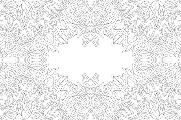 Piękna monochromatyczna wektorowa liniowa ilustracja dla dorosłych kolorowanki książki z streszczenie kwiatowy obramowanie i biała kopia przestrzeń