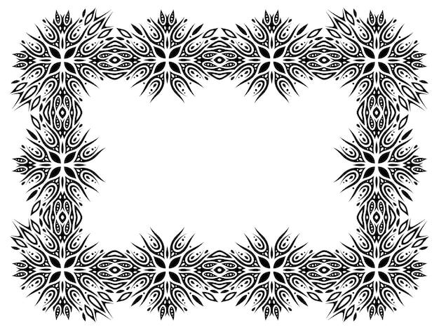 Piękna monochromatyczna wektorowa plemienna ilustracja z abstrakcyjną czarną ramką na białym tle na białym tle