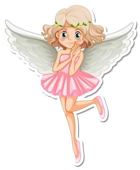 Piękna naklejka z postacią z kreskówki anioła