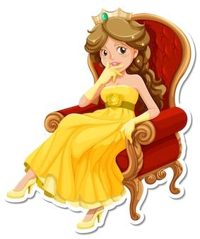 Piękna naklejka z postacią z kreskówki księżniczki