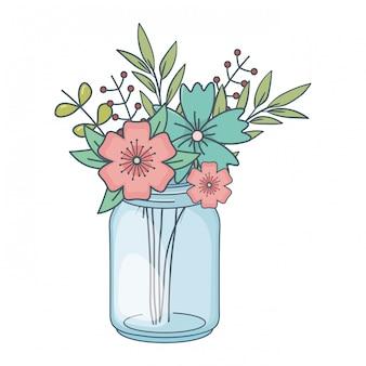 Piękna natura kreskówka kwiaty