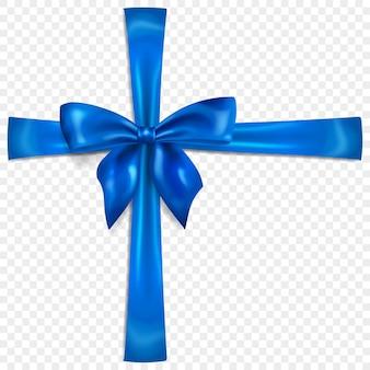 Piękna niebieska kokarda z poprzecznymi wstążkami z cieniem, na przezroczystym tle. przezroczystość tylko w formacie wektorowym