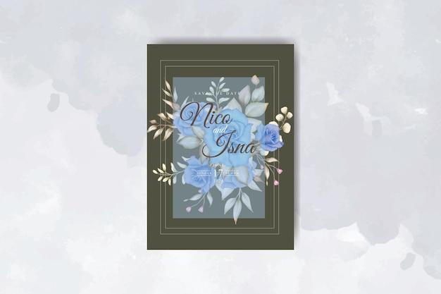 Piękna niebieska kwiecista karta zaproszenie na ślub
